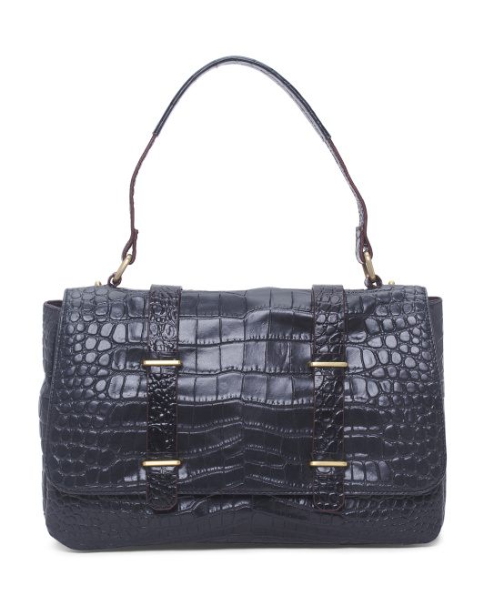 Croc Embossed Leather Shoulder Bag