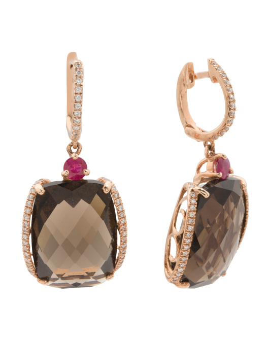 14k Rose Gold Smoky Quartz Ruby And Diamond Earrings