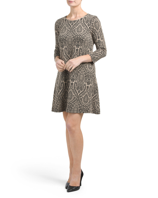 Three Quarter Sleeve Paisley Dress