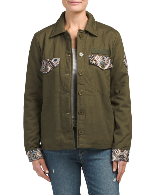 Juniors Embroidered Military Jacket