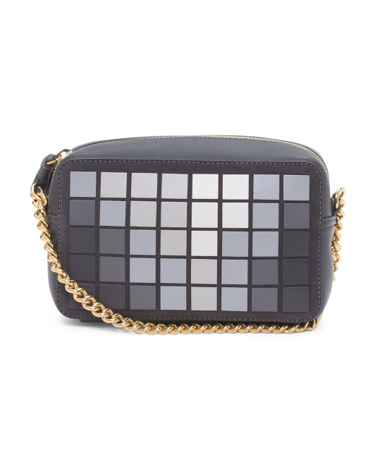 Made In Italy Pixels Leather Crossbody