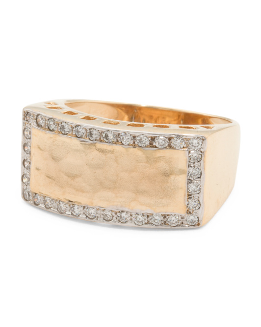 Made In Israel 14k Gold And Diamond Hammered Finish Ring