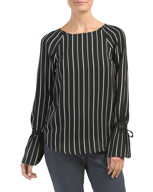 Long Bell Sleeve Striped Top