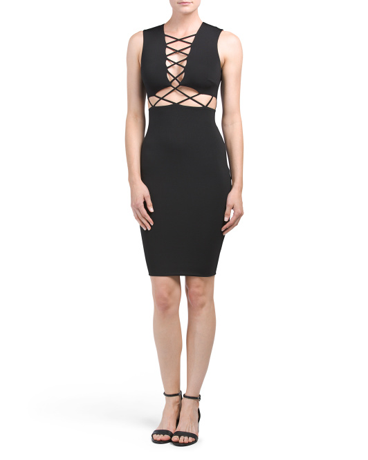 Juniors Lace Up Bodycon Dress