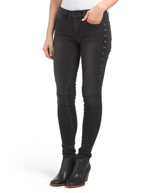 Juniors Studded Moto Jeans
