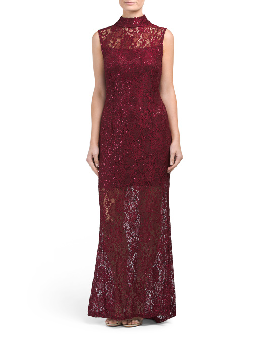 Sleeveless Sequined Lace Gown