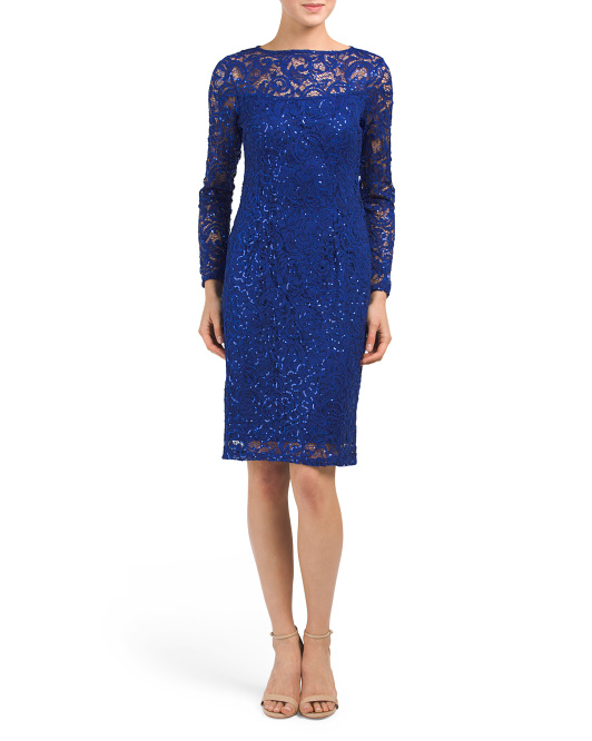 Long Sleeve Sequined Lace Dress