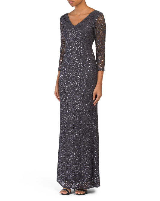 V Neck Sequin All Over Lace Gown