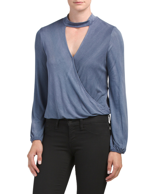Juniors Made In USA Choker Surplice Top
