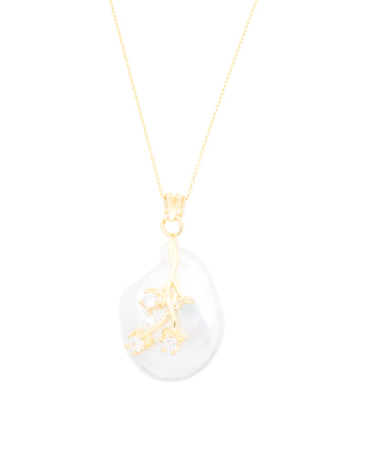 Sterling Silver Coin Pearl Crown Cubic Zirconia Necklace