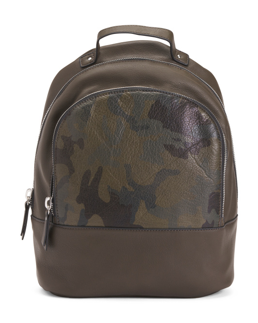 Kimmy Leather Camo Backpack