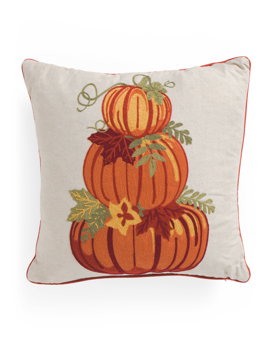 20x20 Embroidered Pumpkin Pillow