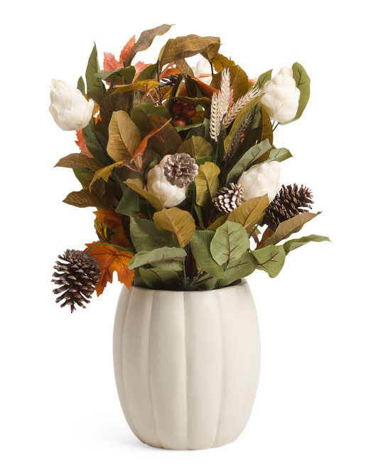 Faux Fall Foliage In Pumpkin Vase