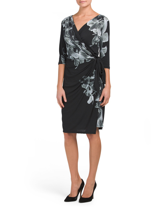Made In USA Printed Wrap Dress