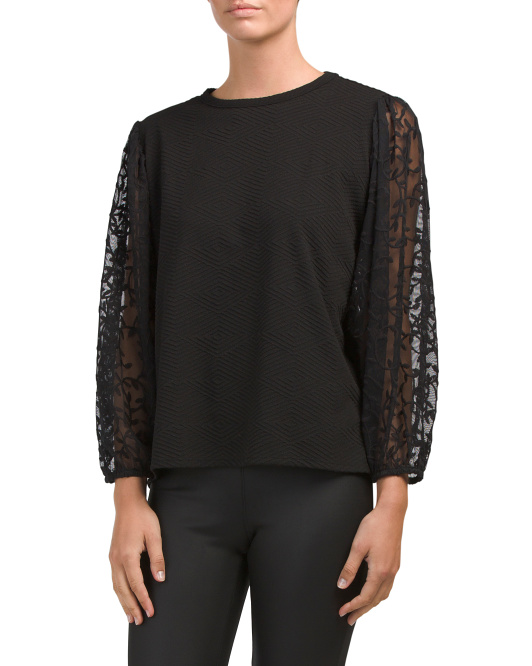 Made In USA Embroidered Lace Textured Top