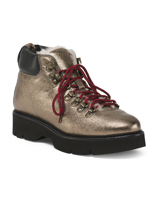 Made In Italy Metallic Leather Hiker Booties