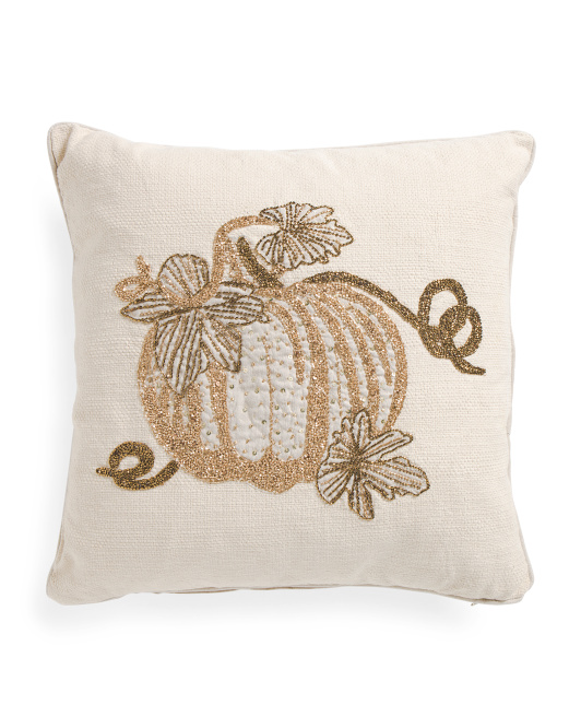 Made In India 20x20 Beaded Pumpkin Pillow