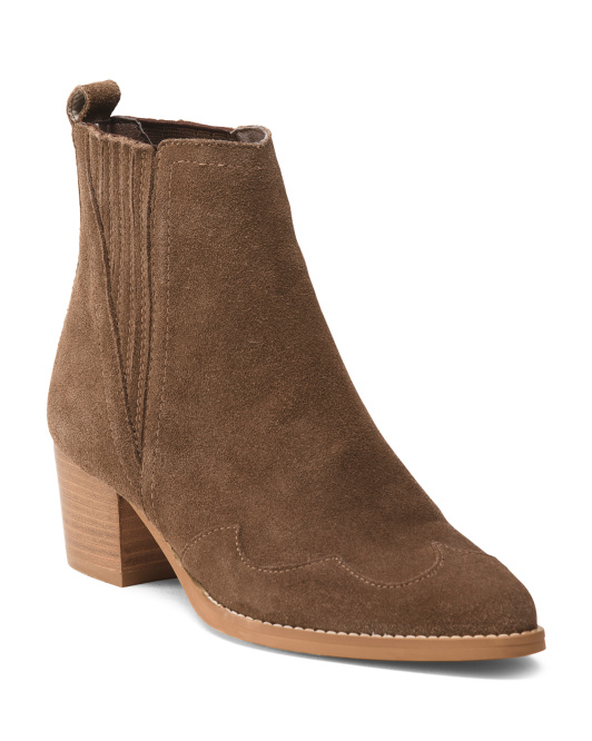 Made In Italy Western Suede Booties