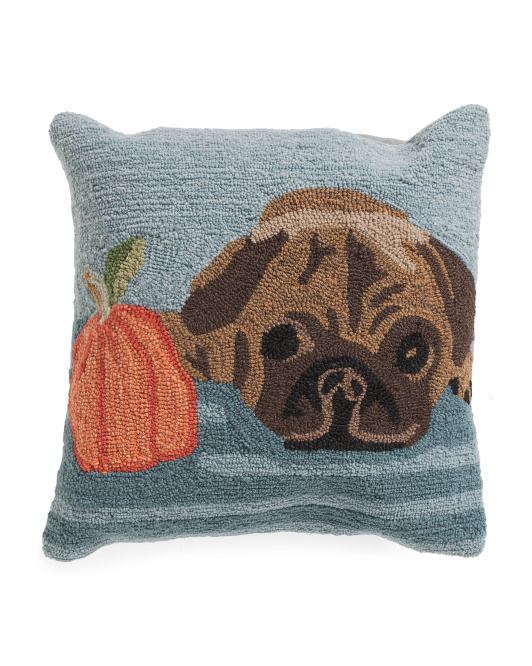 18x18 Hand Hooked Pug Pillow