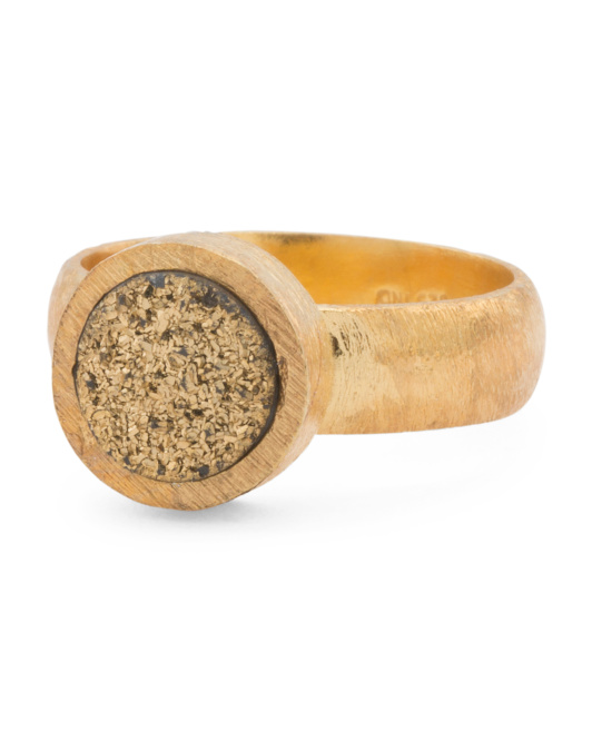 Made In India Gold Plated Sterling Silver Gold Druzy Ring