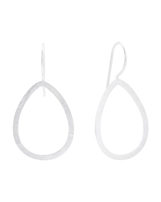 Made In India Sterling Silver Open Teardrop Earrings