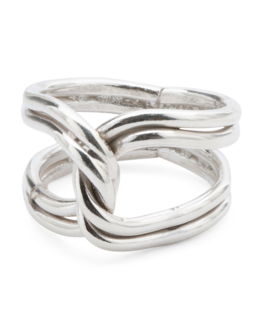 Handmade In Mexico Sterling Silver Interlocking Ring