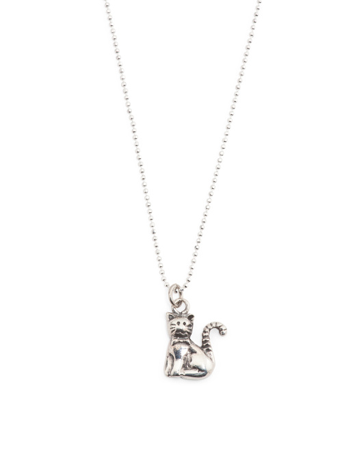 Handmade In Mexico Sterling Silver Kitty Cat Necklace