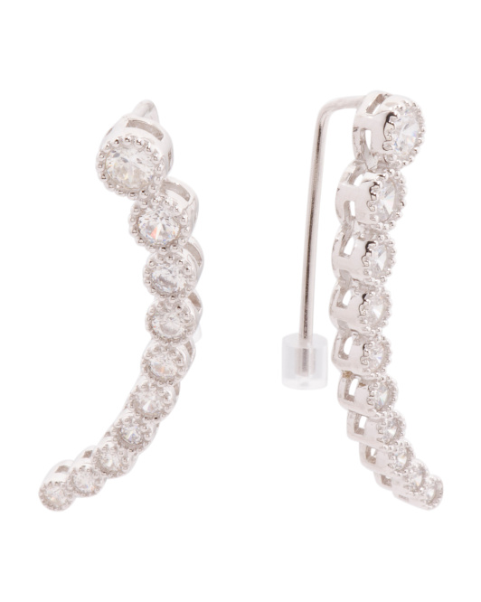 Made In USA Sterling Silver Medium Cubic Zirconia Ear Climber Earrings