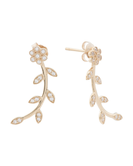 Made In Thailand 14k Gold And Cubic Zirconia Flower And Leaf Earrings