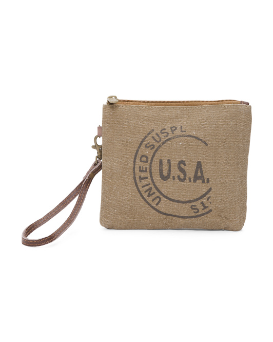 Up Cycled USA Stamped Medium Pouch