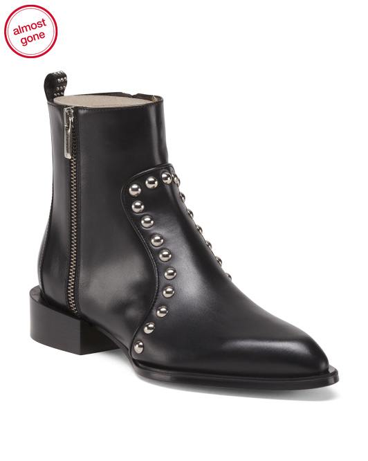 Made In Italy Leather Studded Detail Booties