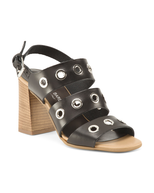 Made In Italy Grommet Leather High Heel Sandals