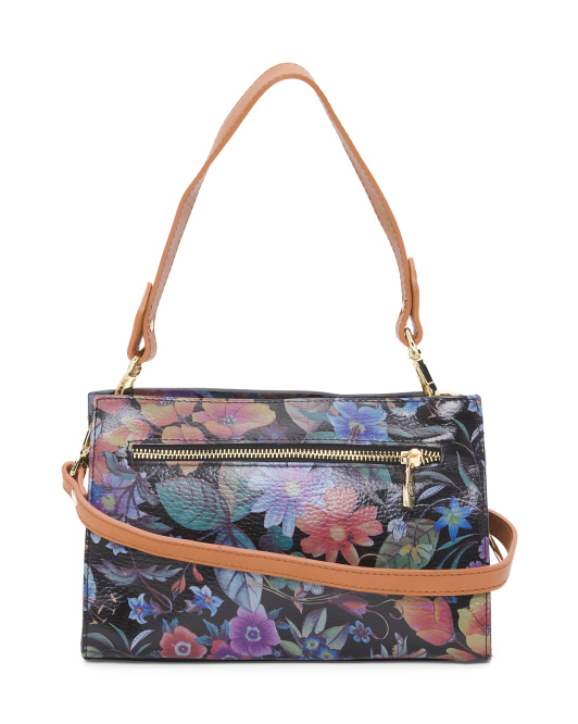 Made In Italy Floral Leather Crossbody