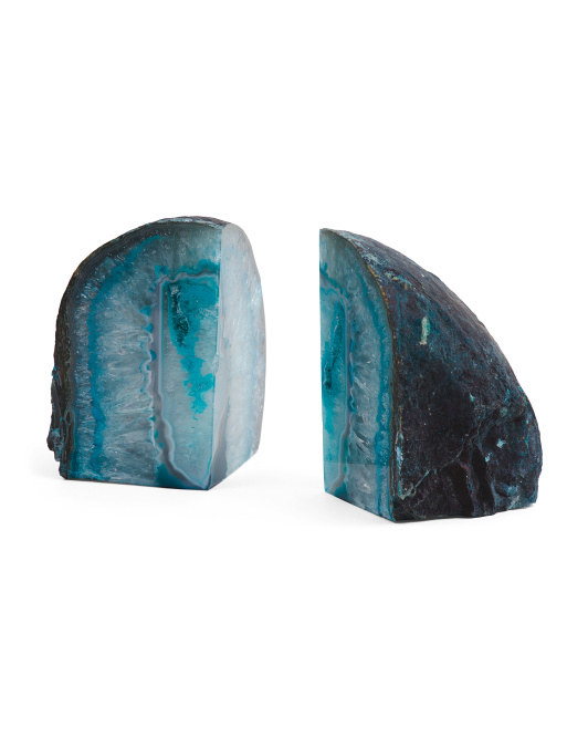 Made In Brazil Set Of 2 Agate Bookends
