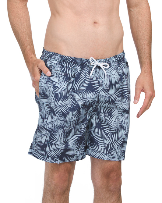 San O Coconut Palm Print Swim Shorts