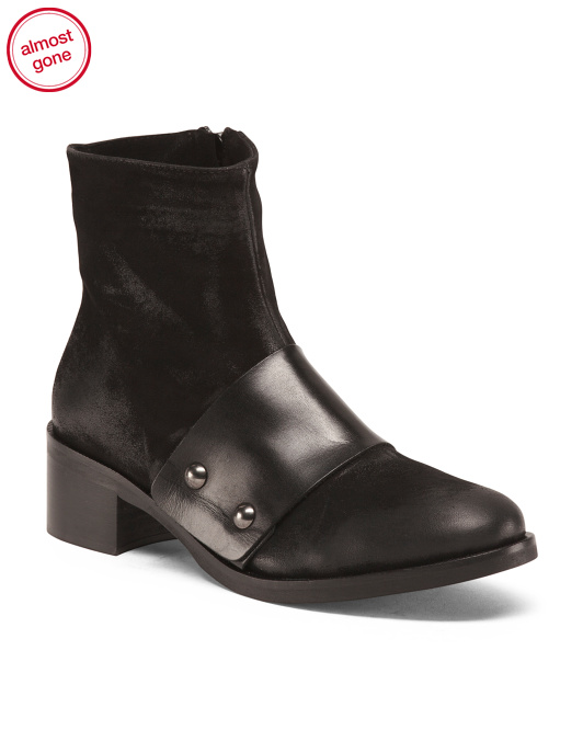 Made In Italy Brushed Leather Booties