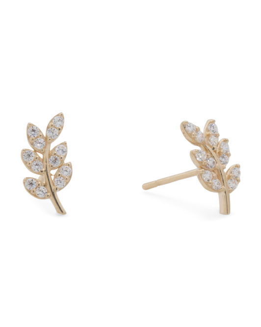 Made In USA 14k Gold Cubic Zirconia Leaf Stud Earrings