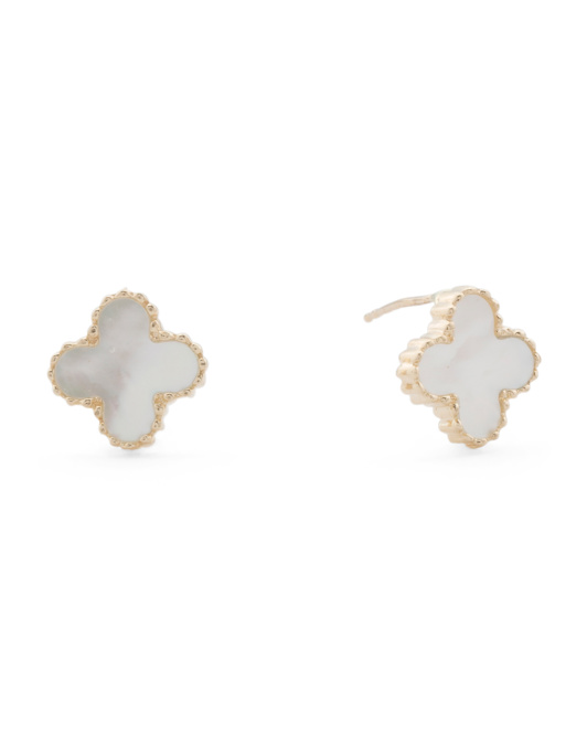 Made In USA 14k Gold Mother Of Pearl Quatrefoil Stud Earrings