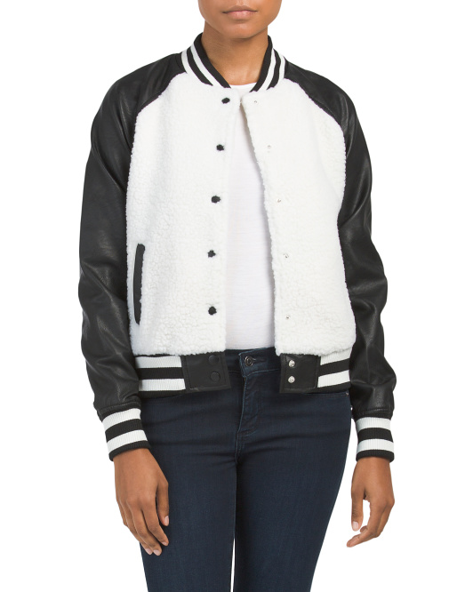 Juniors Sherpa Varsity Jacket