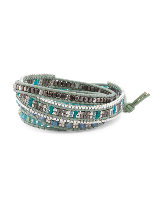 Made In Thailand Czech Crystal Leather Wrap Bracelet
