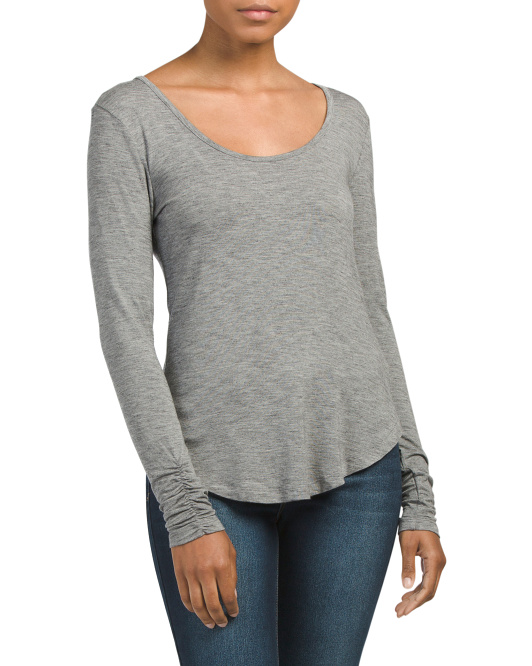 Made In USA Long Sleeve Scoop Neck Top
