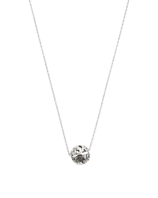 Made In Bali Sterling Silver Filigree Ball Necklace