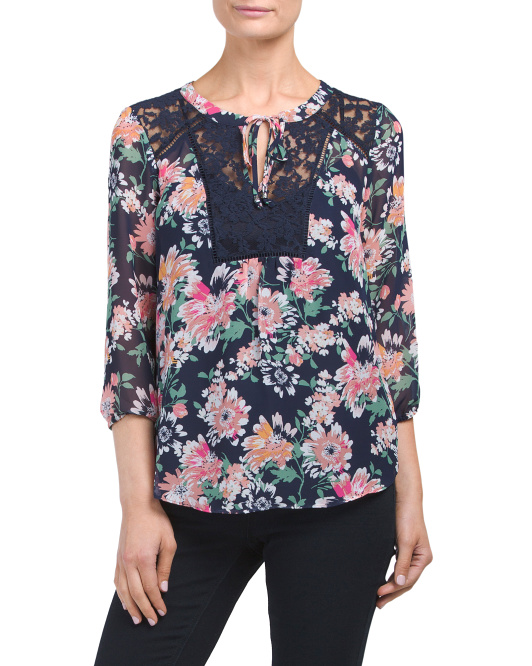 Petite Floral And Lace Blouse