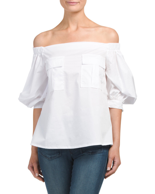 Off The Shoulder Button Up Poplin Top