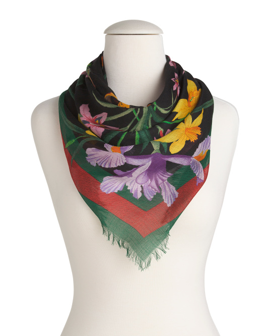 Made In Italy Floral Print Silk Scarf