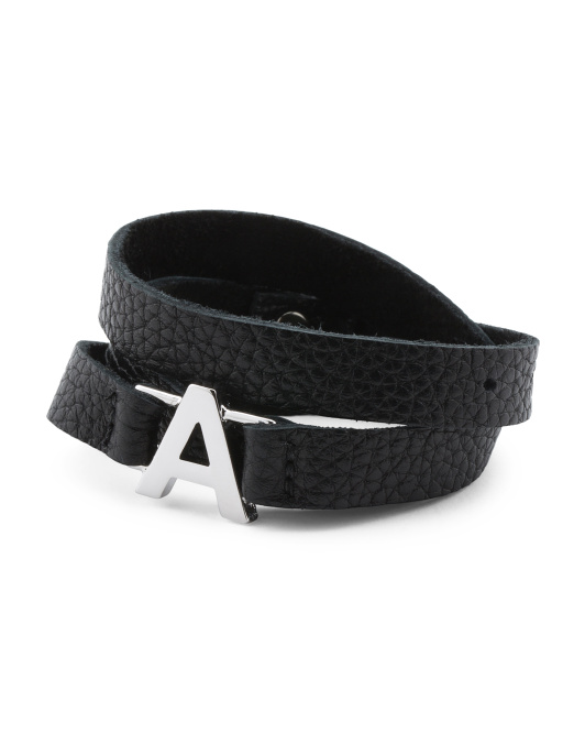 Made In USA Black Leather And Rhodium Initial Wrap Bracelet