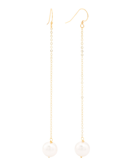 Made In USA Chain Link Pearl Gold Earrings