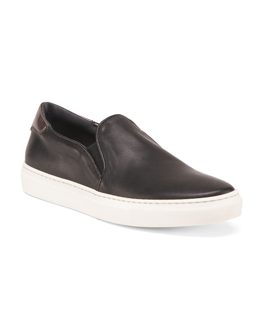 Made In Italy Slip On Leather Sneakers
