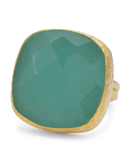 Made In Turkey Aqua Chalcedony 22k Gold Plated Ring