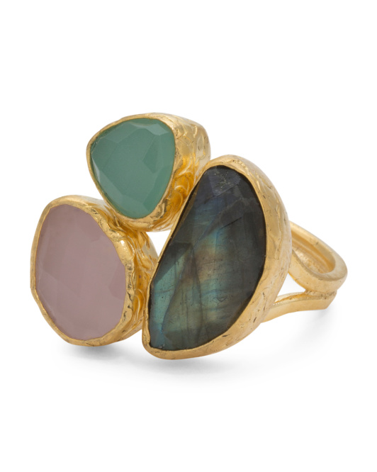 Made In Turkey Multi Gemstone 22k Gold Plated Ring